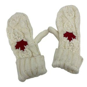 Stone Age Canadian Maple leaf off white mittens